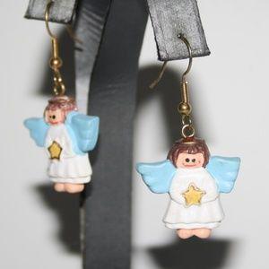 Vintage angel dangle earrings